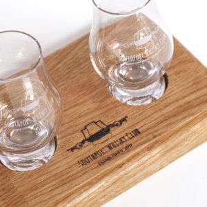 Whisky Flight Tray 2 and 2 SWC Glencairn Glasses