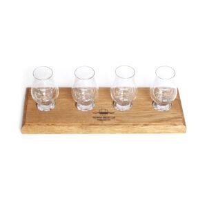Whisky Flight Tray 4 and 4 SWC Glencairn Glasses